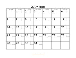 printable july 2019 calendar check boxes
