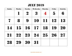printable july calendar 2019 large font