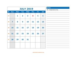 printable july calendar 2019 large space appointment notes