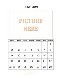 Printable June 2019 Calendar, pictures can be placed at the top