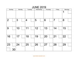 printable june calendar 2019 check boxes