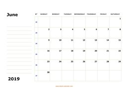 printable june 2019 calendar, large box, space for notes