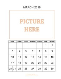 Printable March 2019 Calendar, pictures can be placed at the top