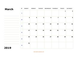 printable march calendar 2019 large box space notes