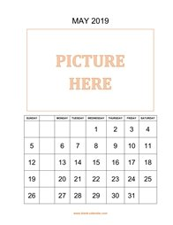 printable may 2019 calendar, pictures can be placed at the top