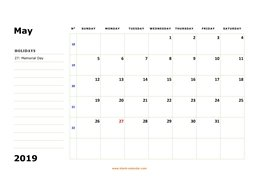 printable may 2019 calendar, large box, space for notes
