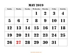printable may 2019 calendar larger font