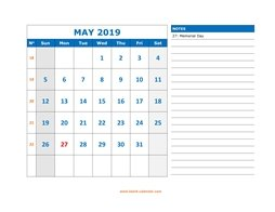 May 2019 Printable Calendar Free Download Monthly Calendar Templates