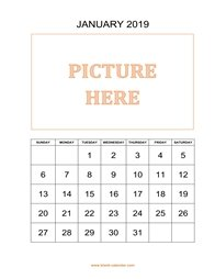 Printable Calendar 2019, pictures can be placed at the top