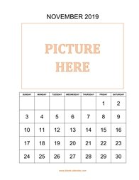 Printable November 2019 Calendar, pictures can be placed at the top