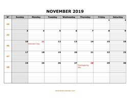 printable november calendar 2019 large box grid