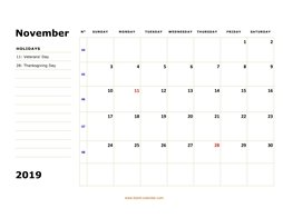 printable november 2019 calendar, large box, space for notes