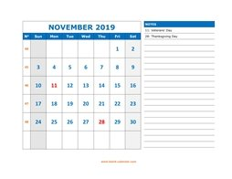 printable november calendar 2019 large space appointment notes