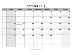 Printable October 2019 Calendar, large box grid, space for notes (horizontal)
