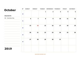 printable october calendar 2019 large box space notes