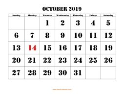 printable october calendar 2019 large font