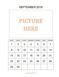 printable september 2019 calendar, pictures can be placed at the top