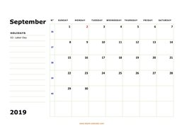 Printable September 2019 Calendar, large box, Federal Holidays listed, space for notes (horizontal)
