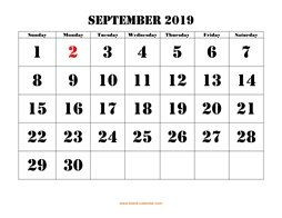 printable september 2019 calendar larger font