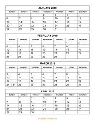 printable calendar 2019 4 months per page