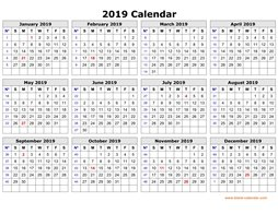 printable calendar 2019 clean design yearly planner one page horizontal