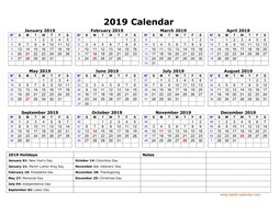 printable calendar 2019 with us federal holidays one page horizontal