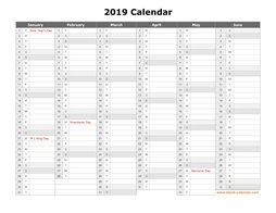 printable calendar 2019 month in a column