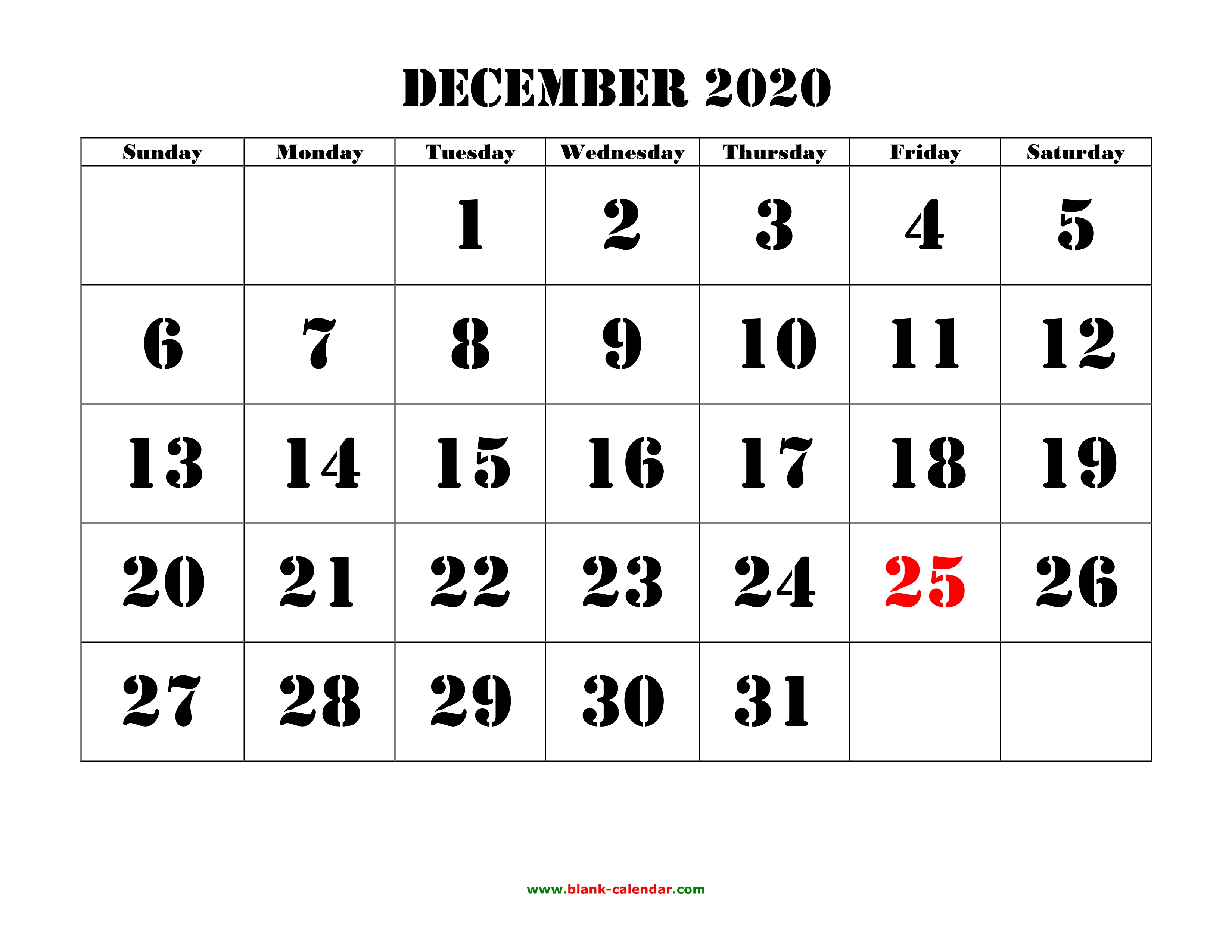 Free Printable Calendar Fornovember And December 2020 With Holidays December 2020 Printable Calendar | Free Download Monthly Calendar