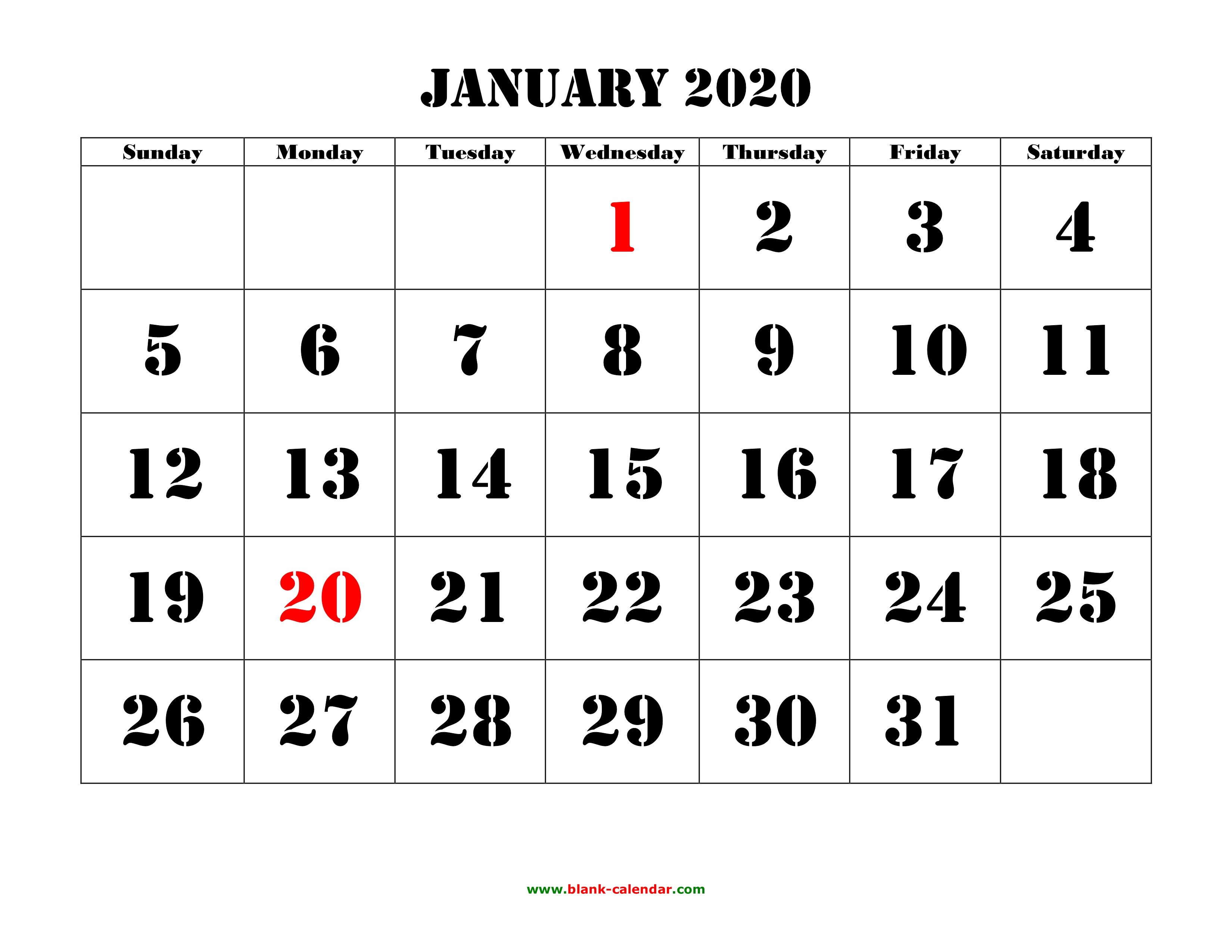 Large January 2020 Calendar Free Download Printable Calendar 2020, large font design