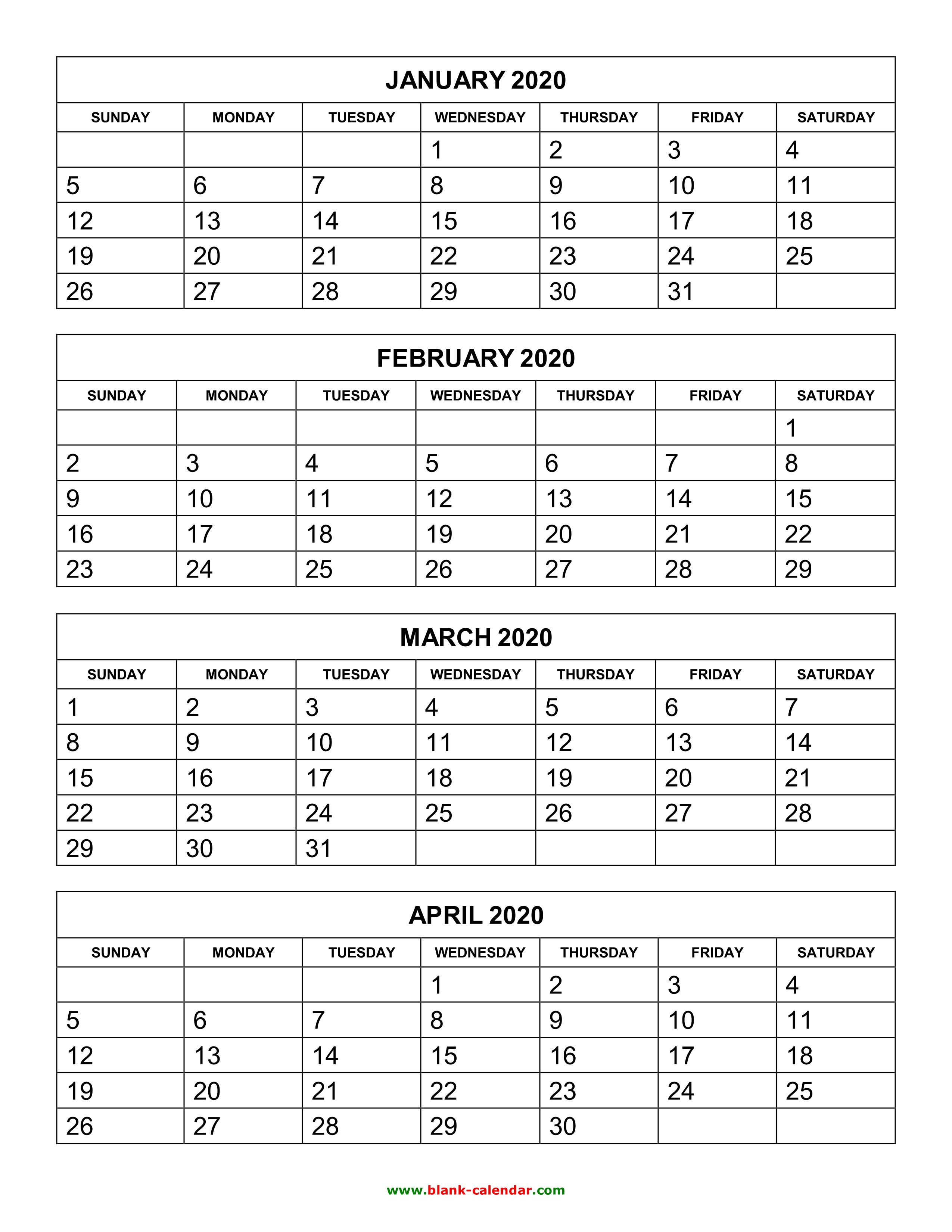 4 Month Calendar 2020 Free Download Printable Calendar 2020, 4 months per page, 3 pages