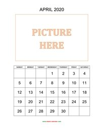 printable april calendar 2020 add picture