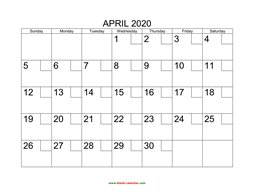 Printable April 2020 Calendar with check boxes (horizontal)