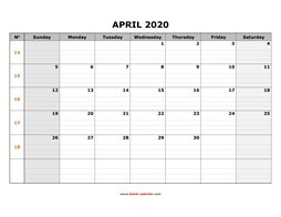 printable april calendar 2020 large box grid