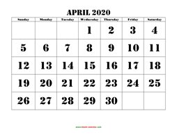 printable april calendar 2020 large font