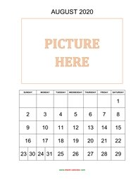 printable august calendar 2020 add picture