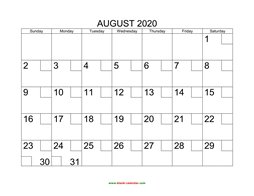 printable august calendar 2020 check boxes