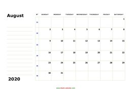printable august calendar 2020 large box space notes