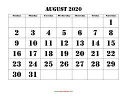 August 2020 Printable Calendar August 2020 Printable Calendar | Free Download Monthly Calendar