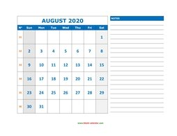 Printable August 2020 Calendar, large space for appointment and notes (horizontal)