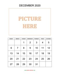 printable december 2020 calendar, pictures can be placed at the top
