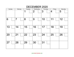 printable december 2020 calendar check boxes