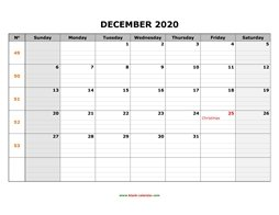 printable december calendar 2020 large box grid