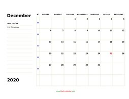 Printable December 2020 Calendar, large box, Federal Holidays listed, space for notes (horizontal)