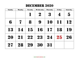 printable december calendar 2020 large font