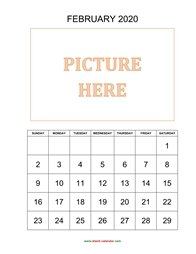 printable february calendar 2020 add picture