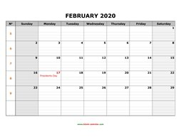 Printable February 2020 Calendar, large box grid, space for notes (horizontal)