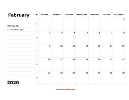 printable february calendar 2020 large box space notes