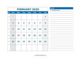 Free February 2020 Calendar Large Spaces February 2020 Printable Calendar | Free Download Monthly Calendar