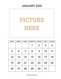 printable january calendar 2020 add picture