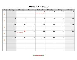 printable january calendar 2020 large box grid